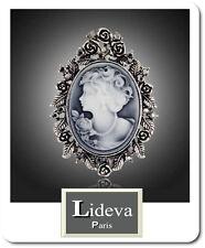 XL Brosche Kamee Vintage Gemme Kristall 60mm X 44 mm Antik Blumen Grau Paris