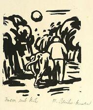 EVA SCHULZE-KNABE - Bauer mit Kuh - Holzschnitt 1950