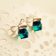 Promotion 1Pair 18K Gold Filled Cubic Crystal Bow-Knot Women's Stud Earrings