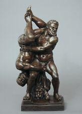 Hercules and Antaeus, athletic nude male wrestlers bronze sculpture