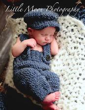 Newborn/Baby Crochet Navy Blue Suspenders and Hat Set Photo Prop