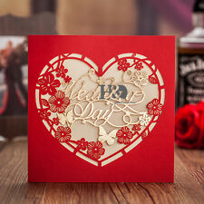 120Red Heart Invitation Cards Laser Cut Wedding Engagement Personalized Printing