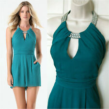 BEBE BLUE EMBELLISHED HALTER ROMPER JUMPSUIT NEW NWT $119 SMALL S 6
