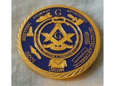 Masonic Coin Unknown Origin Secret Group Mystery Lodge Gold & Blue Freemasonry