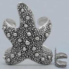 Starfish Cuff Ring SILVER Textured Metal Beach Sea Life Nautical Surfing Jewelry