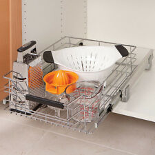 Shelf Cabinet Sliding Drawer Organizer Wire Basket Bin Chrome and Steel pull out