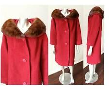Mink Fur Vintage 60s Art Deco Button Boucle Red Wool Mod Go Go Coat Sz S M