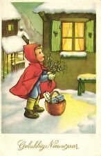Little Red Riding Hood in snow happy new year Dutch postcard 1960