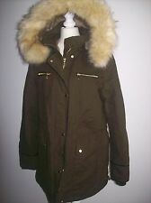ZARA KHAKI BROWN PARKA JACKET COAT WITH FUR LINING AND FUR HOOD REF 5070/251