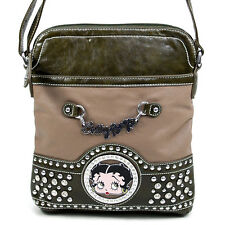 Betty Boop Signature Messenger Bag with Rhinestone & Stud Accents-Taupe/Olive