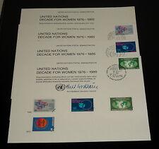 U.N.#SC17, 1980 DECADE FOR WOMEN SET OF 4 SOUVENIR CARDS, NICE!! LQQK