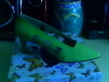 """JAZZ MADE IN SPAIN LEATHER ACID GREEN 3"""" HEELS CUTOUT DETAILS 1980'S"""