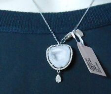 "Meira T Geode & Diamond Drop Necklace 16"" Long White Gold Druzy $1750"
