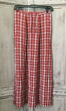 New FLAX Long Straight / A Line Crinkle Rayon Blend Plaid Skirt Womens Small