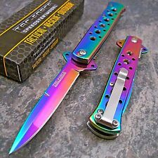 "7"" TAC FORCE Rainbow Spectrum STILETTO Spring Assisted Open Folding Pocket Knife"