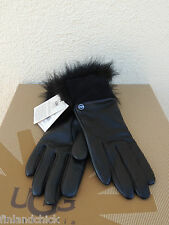 UGG TECH QUINN BLACK LEATHER/ TOSCANA FUR TOUCH SCREEN SMART GLOVES ~ M ~ NWT