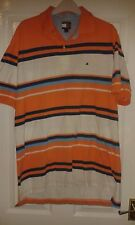 Mens Casual Top / Polo Shirt - Tommy Hilfiger - Orange Blue White Stripe - L/G