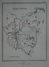 Original 1835 Borough Map KIRKBY KENDAL Cumbria England Mills Westmorland Canal