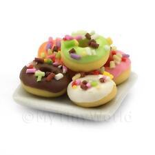 Casa de muñecas en miniatura 5 Helado Anillo Donuts Con Copos