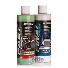 Britemax Metal Twins - Easy Cut & Final Shine 473ml - For Bare Metal, Chrome, SS
