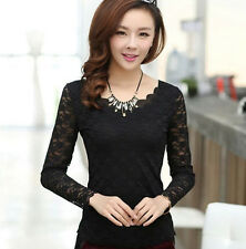 Women Black Lace Long Sleeve Floral Shirt Tops Casual Blouse T-shirt Tops Size M