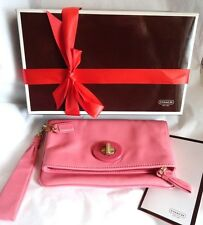 ~NIB/WOT~$178 COACH Punch Pink Leather  42414 Wristlet Clutch~Bag Purse