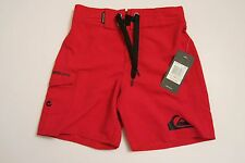NWT Quiksilver Toddler Boys 2T  Surf Swim Board Shorts Red Black Logo