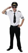 Mens Airline Pilot Uniform Fancy Dress Costume Hat Tie Shirt One Size Stag Adult