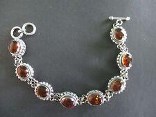 """Lovely SUARTI 925 Sterling Silver w 8 Amber Gemstones Signed 7.5"""" Link Bracelet"""