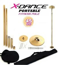 Portable Dance Pole 45mm Gold Color X-Dance Fitness + 2 Carrying Bags Sturdy NEW