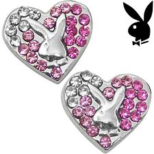 Playboy Earrings Bunny Heart Studs Pink Swarovski Crystals Platinum Plated RARE