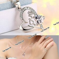 925 Silver Crystal Diamond Heart Necklace Chain Jewelry Gifts for Women Wife Mum