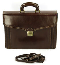New Brown Classic Italian Genuine Buffalo Leather briefcase Bag 3 compartments