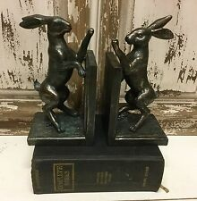 Bronze Effect Fighting Hare Bookends Retro Vintage Style Rabbit Boxing Gift