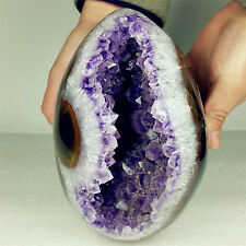"6.92"" 2607g NATURAL AMETHYST GEODE&BANDED AGATE EGG BALL FROM BRAZIL A1217"