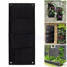 4 Pocket Hanging Vertical Wall Balcony Herbs Garden Planter Bags Outdoor Indoor