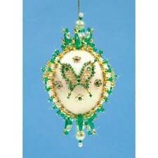 Green Pizzazz Butterfly Sequin & Bead Satin Christmas Ornament Kit Collector NEW