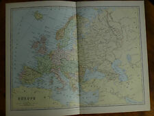1874 ENGRAVING MAP - EUROPE By Bartholomew Austro-Hungary BOSNIA Servia ROUMANIA