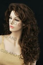 Full Long Curly Teased top Brown Strawberry Blonde Mix WIG TRCA 4-27