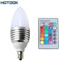3W E12 RGB LED 16 Colors Candle Light Bulb Candelabra Lamp with 24Key Remote
