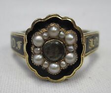 Antique Victorian 18ct Gold Hair Locket Seed Pearl Mourning Regard Ring 1824