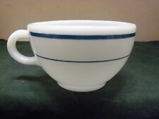 Vtg Corning Pyrex Restaurantware White Milk Glass Green Striped 8 oz Coffee Cup
