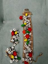 HOBE SIGNED FRUIT SALAD BRACELET AND EARRINGS