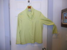 Dusan Italy ~ Art to Wear ~ Chartreuse/Wh Stripe Openfront Cashmere/Silk Jacket