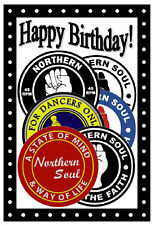 NORTHERN SOUL BIRTHDAY CARD (PATCHES) - GLOSS FINISH - BRAND NEW