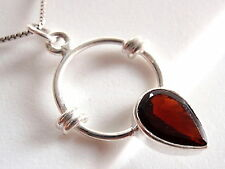 Faceted Garnet Necklace 925 Sterling Silver New Rope Style Accents Hoop Round