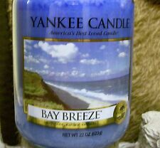 """Yankee Candle """"BAY BREEZE"""" Fresh Scented Large 22oz.Size Glass Jar NEW"""