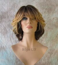 Medium Wig Shoulder Length Flip Curls Page Style HEAT OK Medium Brown Mix Wigs