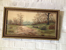 Antique 1909 Signed Jacob Watercolor Landscape Painting