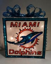 Miami Dolphins inspired Glass Block Lighted Handpainted Stained Glass Look
